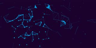 Colorful illustration with abstract low poly elements. Abstract polygonal space . Network connection visualization.Broken structure . Vector technology Stock Images