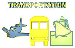 Colorful Illustration of air, land and water transportation vector illustration