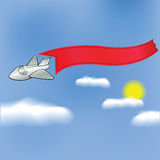 Airplane with banner Royalty Free Stock Photo