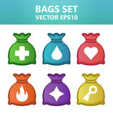 Colorful  illustration bags with gaming symbols.Assets set for game design and web application. Colorful  illustration bags with gaming symbols. Ready assets Royalty Free Stock Photos