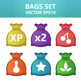 Colorful  illustration bags with gaming symbols.Assets set for game design and web application. Colorful  illustration bags with gaming symbols. Ready assets Royalty Free Stock Photography