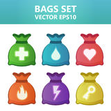 Colorful  illustration bags with gaming symbols.Assets set for game design and web application. Colorful  illustration bags with gaming symbols. Ready assets Stock Photos