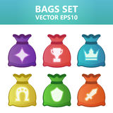 Colorful  illustration bags with gaming symbols.Assets set for game design and web application. Colorful  illustration bags with gaming symbols. Ready assets Stock Images