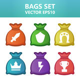 Colorful  illustration bags with gaming symbols.Assets set for game design and web application. Colorful  illustration bags with gaming symbols. Ready assets Royalty Free Stock Photo