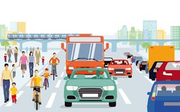 City with pedestrians and cyclists. Colorful illustration of a busy road with cars, vans and a bus on the right, young cyclists on the left  beside a pavement Stock Image