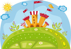 Colorful illustration with a castle Royalty Free Stock Photo