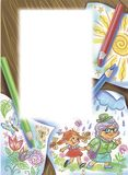 Colorful illustration of children`s drawings with template for text. Artistic illustration of a table with several sheets of paper with children`s drawings and royalty free illustration