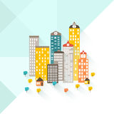 A colorful illustration of a city and suburban area. The bottom of the image is a suburban area Royalty Free Stock Photos