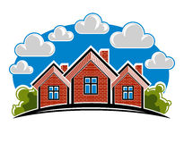 Colorful  illustration of country houses created with bric Stock Image