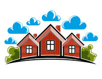 Colorful illustration of country houses created with bricks. Sim Stock Photography