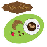 Colorful  illustration. Colorful illustration with cup of coffee and croissant Royalty Free Stock Photos