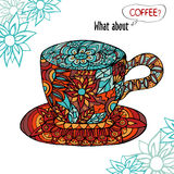 Colorful illustration with a Cup of coffee and floral ornament Royalty Free Stock Image