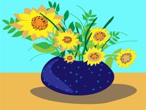 Colorful illustration of deep blue vase with polka dots, full of sunflowers. stock illustration