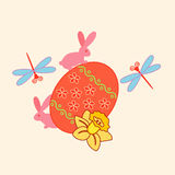 A Colorful illustration of an Easter Egg. Surrounded by bunnies, dragonflies and daffodil Stock Photo