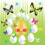 Easter eggs and butterflies Royalty Free Stock Photography