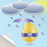 Easter eggs and umbrella Royalty Free Stock Photography