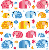 Colorful illustration with an elephant. Vector illustration of the elephant Stock Photography