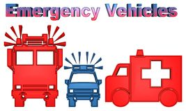 Colorful illustration of emergency vehicles-Fire truck, police car and ambulance stock illustration
