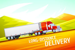 Colorful Illustration of fast shipping concept. Cargo truck of delivery rides at high speed on a background of mountains and colorful landscapes stock illustration