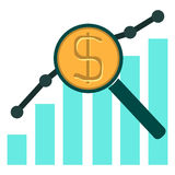 Colorful illustration with financial bar chart diagram. With Magnifying Glass Stock Photos