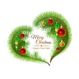 Colorful Illustration with Fir Branches and Christmas Decorations. Image for your design project Stock Photo
