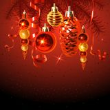 Colorful Illustration with Fir Branches and Christmas Decorations. Images for your design projects Stock Photo