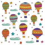 Colorful illustration of flying hot air balloons Royalty Free Stock Photo