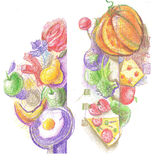 Colorful illustration of food. Colorful illustration of fruits vegetables and other food stock illustration