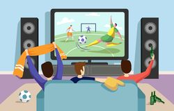 Colorful illustration of a football soccer match stock illustration