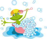 Colorful illustration with a frog Stock Photo
