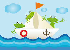 Colorful illustration with frogs on the ship Royalty Free Stock Images