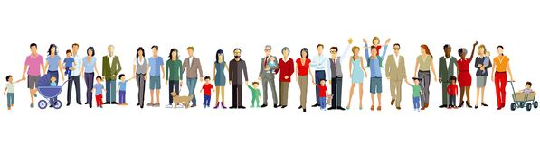 Family generations illustration. Colorful illustration of generational family members standing in a row, isolated on a white background Royalty Free Stock Images