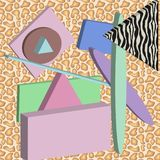 Abstract composition. geometric figure with a fantasy of colors that recalls the 80s vector illustration