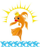 Colorful illustration with a goldfish. Vector illustration of the goldfish Stock Photos