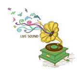 Colorful illustration with gramophone Stock Photo