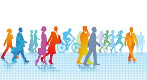 City people walking vector illustration