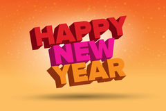 Colorful illustration. Happy new year card. In warm colors Stock Image