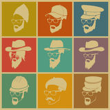 Colorful illustration of icons of people in hats Stock Photo