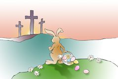 Easter Bunny confronts Christian Cross of Jesus Royalty Free Stock Photo