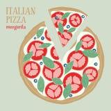 Colorful illustration of Italian Pizza Margarita. Hand drawn vector illustration. Colorful illustration of Italian Pizza Margarita. Hand drawn vector food royalty free illustration