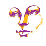 Colorful illustration of lady face, delicate visage features. Ey Royalty Free Stock Photos