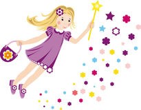 Colorful illustration with a little fairy. Vektor illustration with a flying fairy for your design Royalty Free Stock Photography