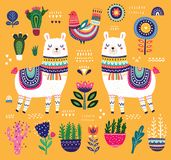 Colorful illustration with llama Royalty Free Stock Photos