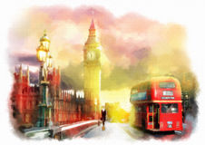 Colorful illustration of London city view. Stock Image