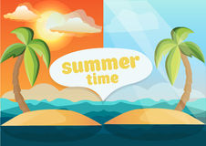 Colorful illustration of lonely tropical island Royalty Free Stock Images
