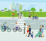 City with pedestrians and cyclists. Colorful illustration of a main  road with a zebra crossing and people and cyclists on both sides with a path through a green Royalty Free Stock Photos