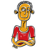 Colorful illustration of a man in a red T-shirt with his arms fo Royalty Free Stock Images