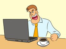 Colorful illustration of a man watching the internet broadcast online. Stock Photo