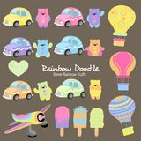 Rainbow Doodle Collection stock illustration