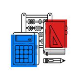 Colorful illustration about mathematics in modern outline style. College subject icon. Colorful illustration about mathematics in modern outline style. College vector illustration